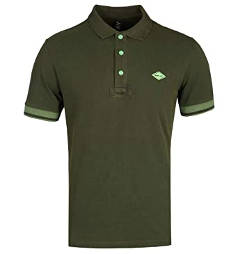 REPLAY Polo Verde Militar con Logo: Amazon.es: Ropa y accesorios