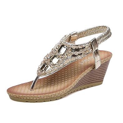 72e106177fe9fb Angelliu Women s Bohemian Beads Crystal T-Strap Sandals Wedges Shoes Gold US  4.5