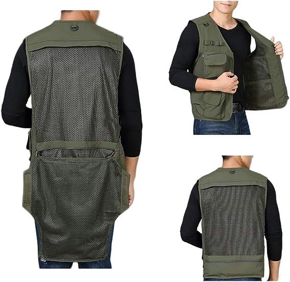 D/ünn Atmungsaktivit/ät Baumwolle Weste,Outdoor Multi Pockets Vest Angeln Fotografie Gilet 14 Taschen Und 3 Haken