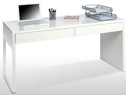 Pegane bureau réversible en bois coloris blanc brillant avec