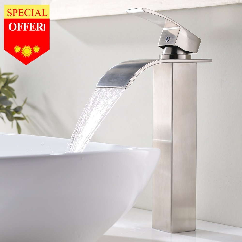 VESLA HOME Contemporary Single Handle Brushed Nickel 12.2 inch Tall Vessel Sink Bathroom Faucet with Large Rectangular Spout