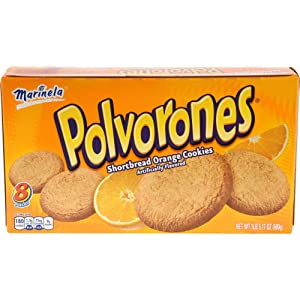 Marinela Polvorones, Orange Flavored Shortbread Cookies, 8 count