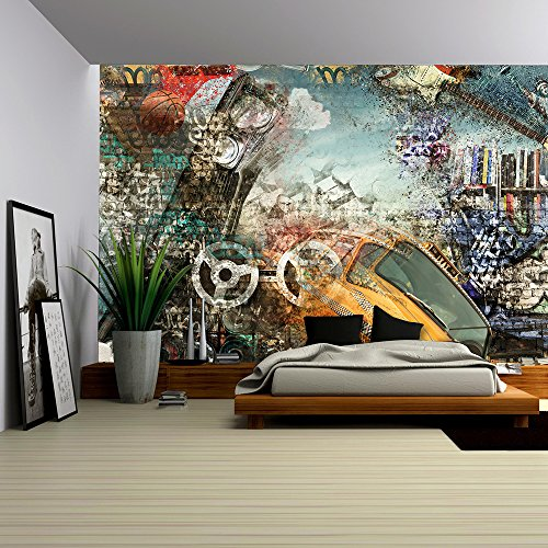 wall26 - Modern Background in the Style of Hip-Hop and Grunge - Removable Wall Mural | Self-adhesive Large Wallpaper - 100x144 inches - Wall Mural Model