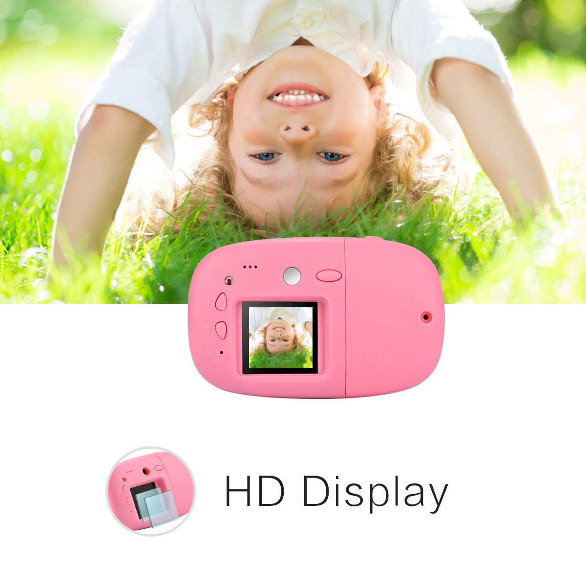 DishKooker 1.44 inch Digital Video Camera for Kids 1080P HD Sports Learn Mini Camera Camcorder for Boys Girls Pink by DishKooker (Image #5)