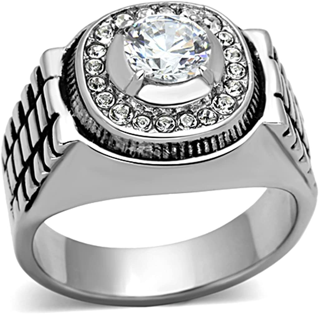 Stainless Steel Satin Finished Beveled Edge Comfort Fit Wide Band Ring with Clear CZ
