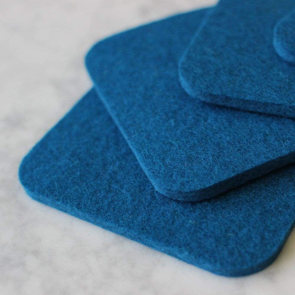 Neon Blue Square Drink and Beverage Coaster Set in 5mm Thick Merino Wool Felt