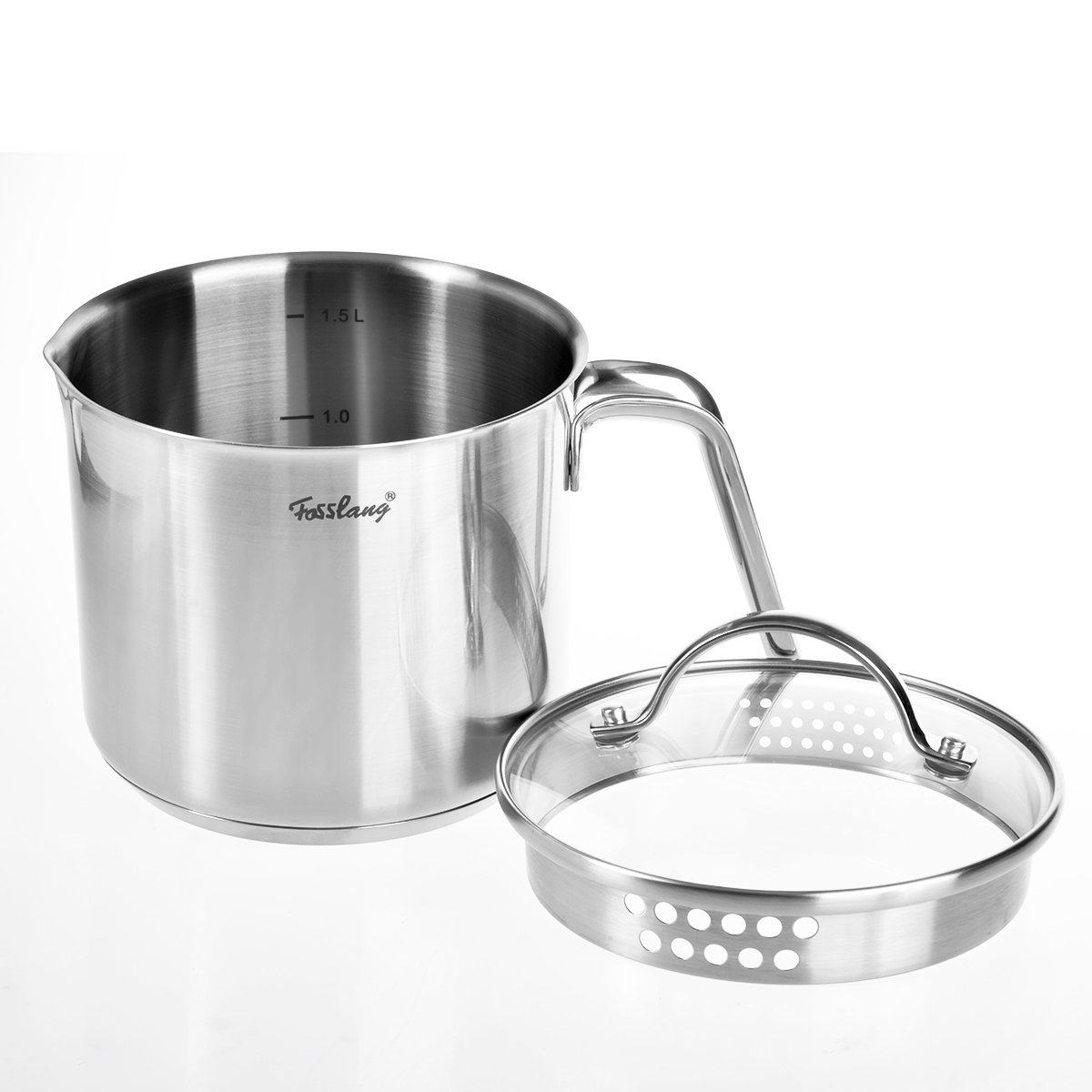 1 Quart Saucepan, Fosslang Stainless Steel Saucepan with Glass Cover, 6 Cups Burner Pot
