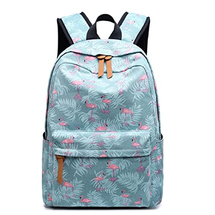 Amazon.com: Winerbag Cute Canvas Women Backpack Kawaii Flamingos Animal Pattern Printing Girls Bookbags College Daily Mochila Blue: Sports & Outdoors