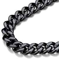 FindChic Chunky Cuban Link Curb Chain Necklace for Men 18K Gold Plated/Stainless Steel/Black Hip Hop Link Chains for…
