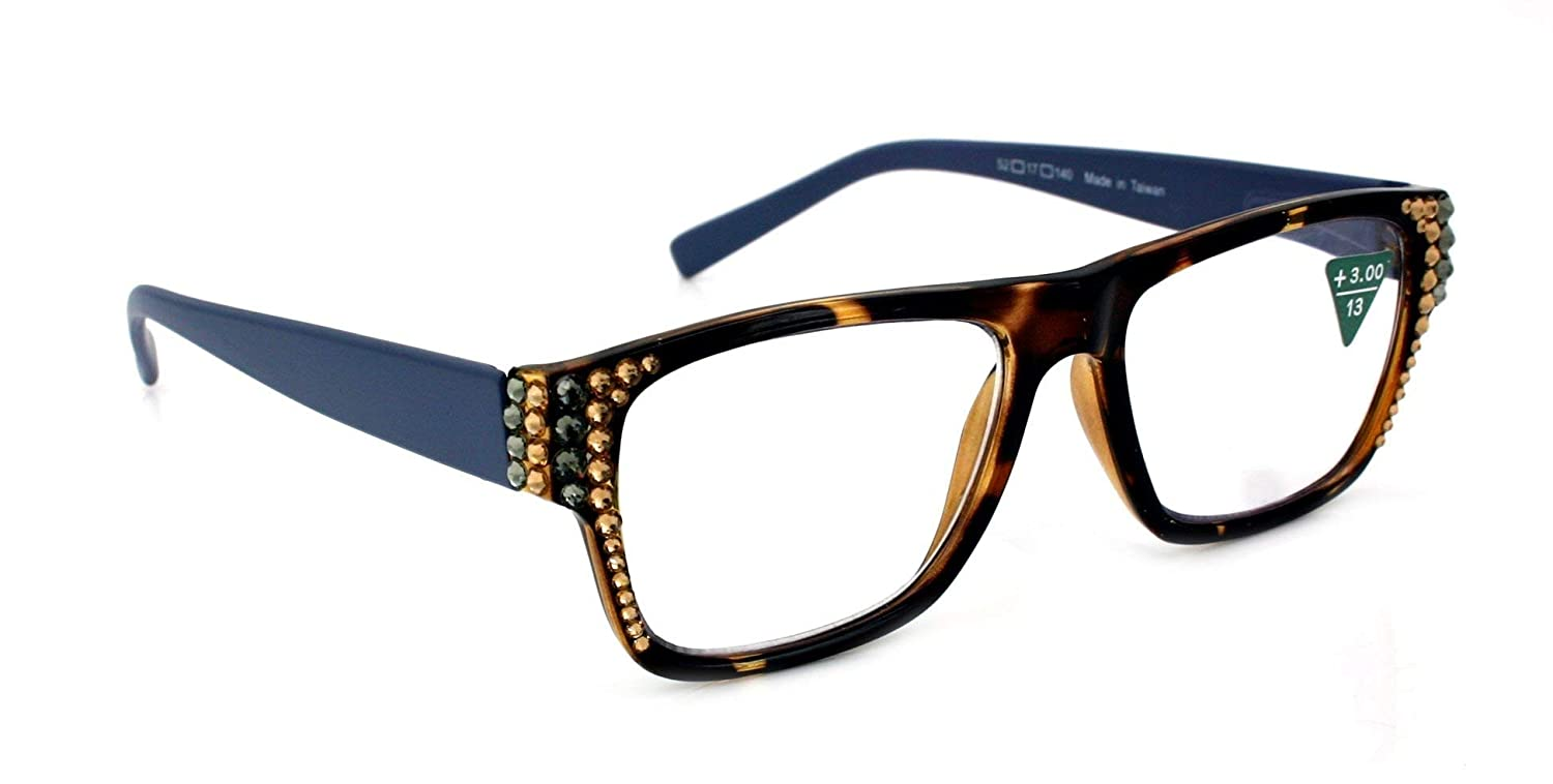 Retro Square INDIGO Women Reading Glasses Adorned with Swarovski Crystals +1.50, 2.00, 2.50, 3.00 Tortoise Eggplant Purple/Brown Tortoise shell/Tortoise Turquoise