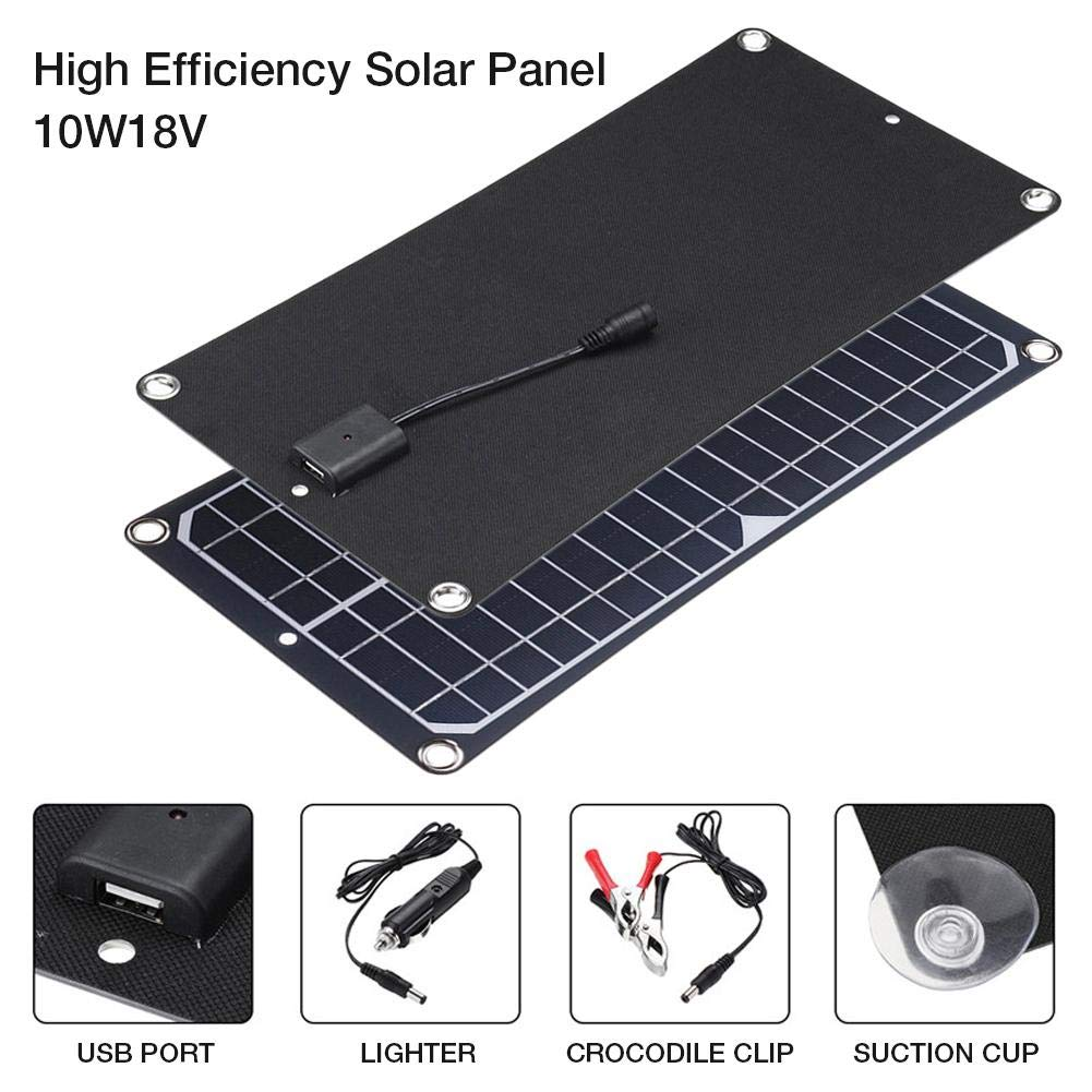 Grehod 10W 18V High Efficiency Solar Panel Energy Saving Charging Board - for Mobile Phone Battery RV Car Outdoor Generator Camping Cycling Traveling Ingenious by Grehod