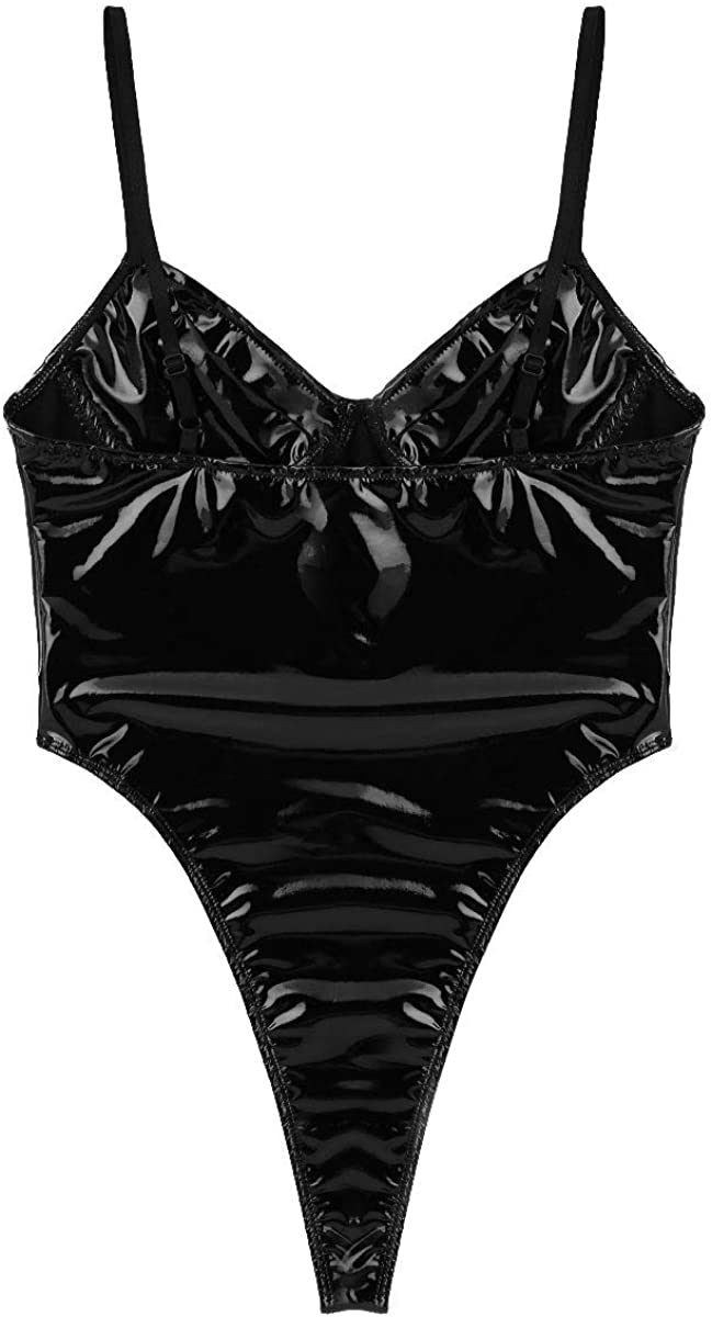 Alvivi Womens Wet Look Patent Leather Adjustable Shoulder Straps High Cut Thongs Bodysuit Clubwear