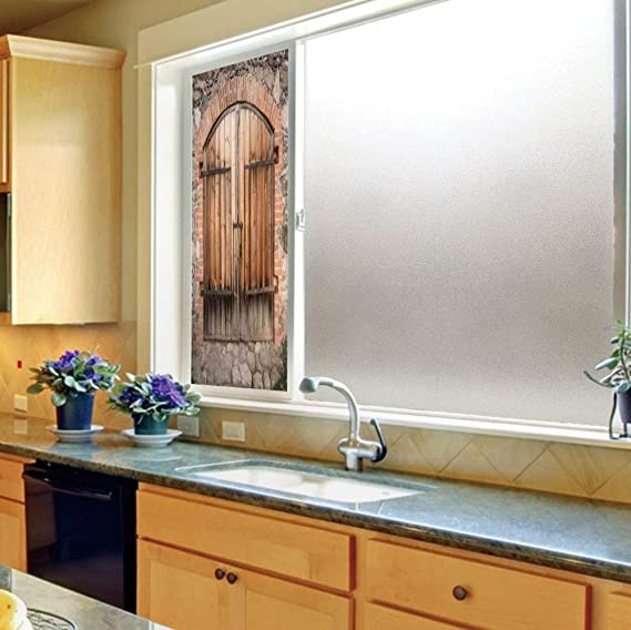 Vinilo Decorativo Esmerilado de privacidad para Ventana, rústico, para baño, Cocina, hogar, fácil de Instalar, Puerta de Madera Tradicional con Vertical y Cruz,: Amazon.es: Hogar