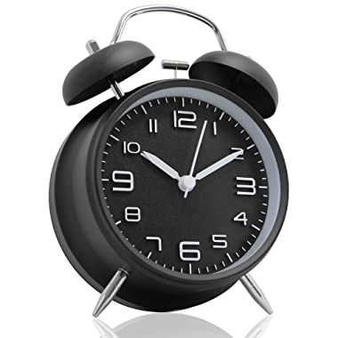 Betus Non-Ticking 4  Twin Bell Alarm Clock - Metal Frame 3D Dial with Backlight Function - Desk Table Clock for Home and Office - Midnight Black