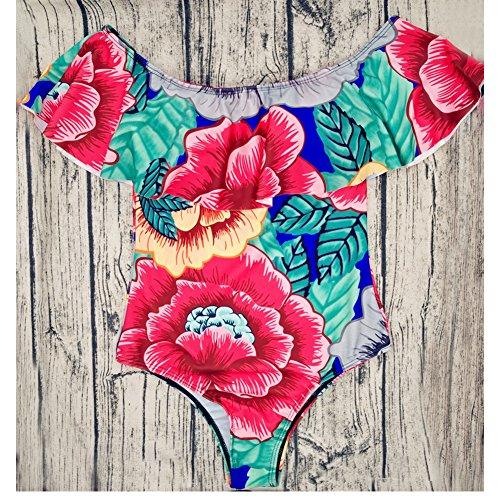 Mujeres Trajes de Baño de Una Pieza Retro Impresión Push Up Bikinis Bañador Ropa de Baño Flor Oscura