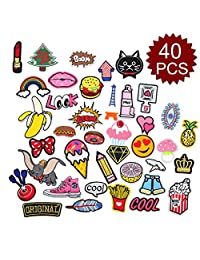Aspire Iron-On or Sewing-On Embroidered Applique Cap Polo Backpack Clothing DIY Patches with Glue-Assorted