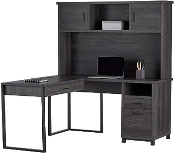 Realspace DeJori 59 Inch W L-Shaped Desk With Hutch
