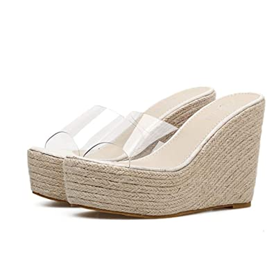 934eb544a23 Amazon.com   Women's Platform Wedge Espadrilles Sandal Slip On Peep ...