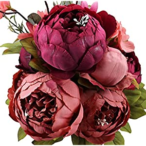 Duovlo Fake Flowers Vintage Artificial Peony Silk Flowers Wedding Home Decoration,Pack of 1 (New Red) 8