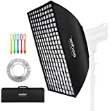 Godox 80x120 Centimeters/ 32x48 inches Softbox lighting with Grid Beehive & Bowens Mount Speedring for Studio Photo Flash Spe