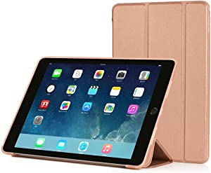 RUBAN Case Compatible with iPad Air 2 (2014 Release) - Slim Lightweight Protective Smart Shell Anti-Scratch Non-Slip Flexible Soft TPU Back Cover Stand [Auto Sleep/Wake], Rose Gold