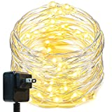 Oak Leaf LED String Lights,33 ft 100 LEDs Starry Fairy Lights for Bedroom,Wedding,Patio,Gate,Party, 3V Power Adapter,Warm White