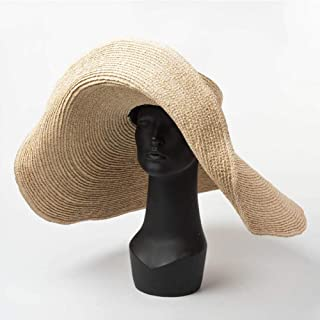 GWLYDB Cappello a Falda Larga Extra Large in Rafia Kentucky Derby Hat Donna Floppy Summer Beach Grande Cappello di Paglia Cappello da Sole