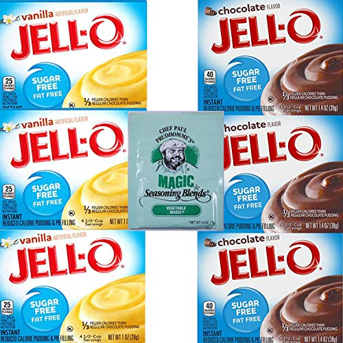 - Jello Sugar Free Pudding Mix Combo. Vanilla and Chocolate Instant Pudding Mixes. Convenient One-Stop Shopping For 2 Popular Jell O Pudding Mixes. Sugarfree Heaven! Also: Chef Paul Seasoning Mix.