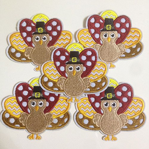 Set of 10pcs Thanksgiving Turkey Iron On Sew On Cloth Embroidered Patches Appliques Machine Embroidery Needlecraft Sewing projects DIY