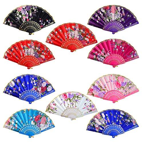 (Lee-buty 10pcs Floral Folding Hand Fan Flower Pattern Gold Side Lace Handheld Folding Fans Women Hand Folding Fans Vintage Retro Style Folding Fan)