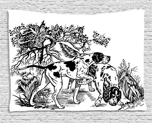 Hunting Decor Tapestry by Ambesonne, Hunting Dogs in Forest Monochrome Drawing English Pointer and Setter Breeds, Wall Hanging for Bedroom Living Room Dorm, 80 W X 60 L Inches, Black White (English Setter Tapestry)