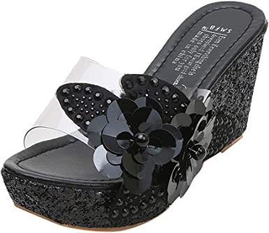 Women's Clear Band Wedges Slip on
