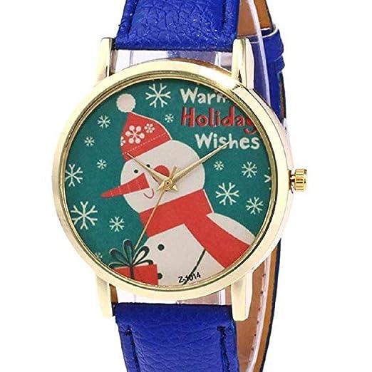 ¡Promoción Mujeres Cuarzo Reloj de liquidación de Navidad muñeco de Nieve patrón analógico Relojes Femeninos señora Relojes Reloj de Cuero (Azul): ...