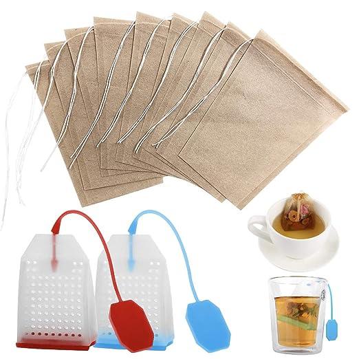 FineGood - Bolsas de filtro de té desechables de papel sin ...