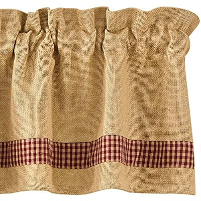 "Park Designs Burlap & Check Valance, 72 x 14, Red - Classic look for window top Valance has a 1.5"" header and 2"" rod pocket Machine wash cold, delicate cycle, line dry - living-room-soft-furnishings, living-room, draperies-curtains-shades - 61DZYcHtIcL. SS400  -"