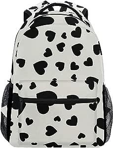 Bookbag Corazón Geométrico Color Blanco Y Negro Elegante