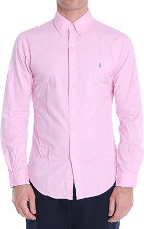 Polo Ralph Lauren Mod. 710787192 Camisa Popelín Slim Fit Hombre Rosado S: Amazon.es: Ropa y accesorios