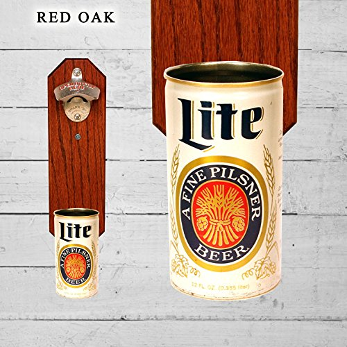Wall Mounted Bottle Opener with Vintage Miller Lite Beer Can Cap Catcher (Miller Lite Can Opener compare prices)