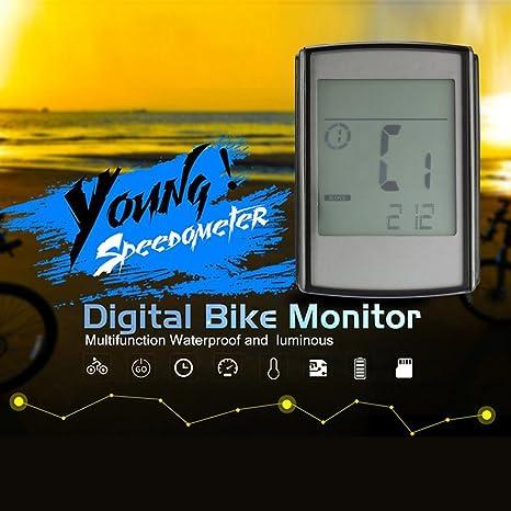 Opeof Rodillera inalámbrica para Ordenador de Bicicleta LCD odómetro velocímetro Cadencia Pulsómetro Monitor: Amazon.es: Deportes y aire libre