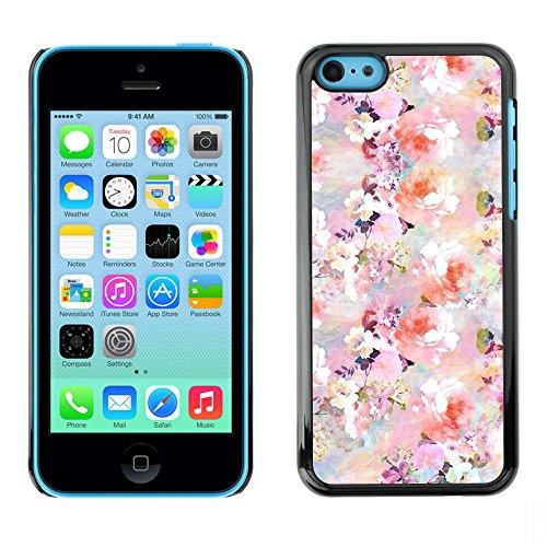 Ziland / Premium Slim HD plastique et d'aluminium Coque Cas Case Drapeau Cover / Flowers Spring White Pink / Apple iPhone 5C