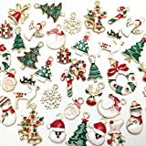 Dandan DIY 38pcs Christmas Pendant Charm for Necklace Bracelet Jewelry Making Clothes Sewing Bags Decoration Charm DIY Scrapbooking Supply(Christmas Styles)