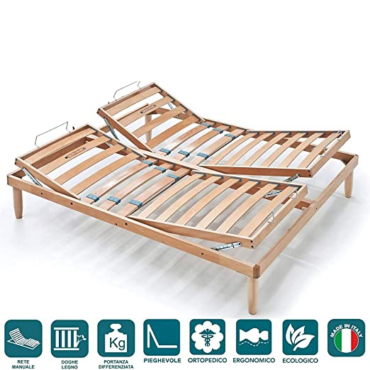 EvergreenWeb - Red matrimonio a láminas de madera con 2 sentado Separate, base cama reclinable con doble movimiento Alza cabeza y pies Manual, ...