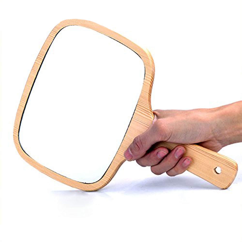 Gohide Handmade Wood Handle Wool Framed Mirror Unbroken Wood Mirror Vintage Wood Mirror Portable Makeup Mirror Mini Cosmetic by GOHIDE (Image #6)