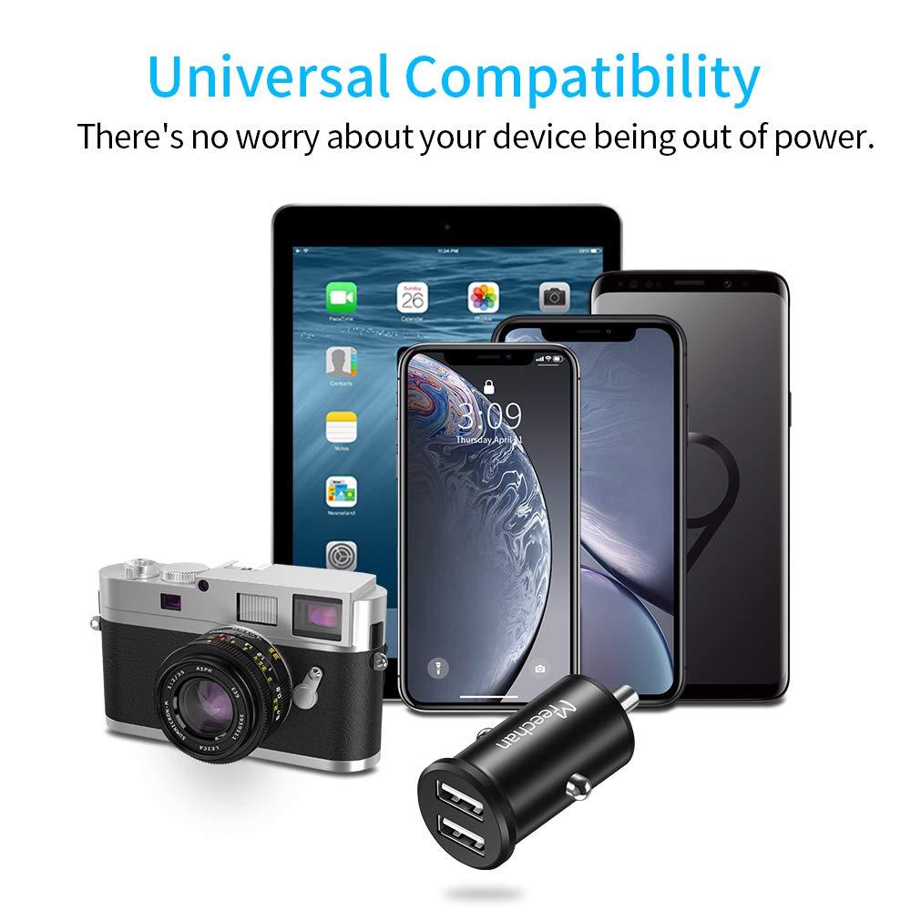 Mini Alluminio Caricatore Adattatore Universale per iPhone iPad Samsung Huawei Xiaomi Smartphone Tablet ECC Warxin Caricabatterie da Auto USB Argento Caricabatteria per Auto 2 Porte 24W 4.8A