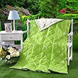 KFZ Summer Quilt Comforter Bedspread for Bed Breathable BDD 4 Sizes Christmas Tree Butterfly Dance Dessert Bike Forest Zoo Designs For Children Adult One Piece (Sun And Moon,Green, Kids,39''x59'')