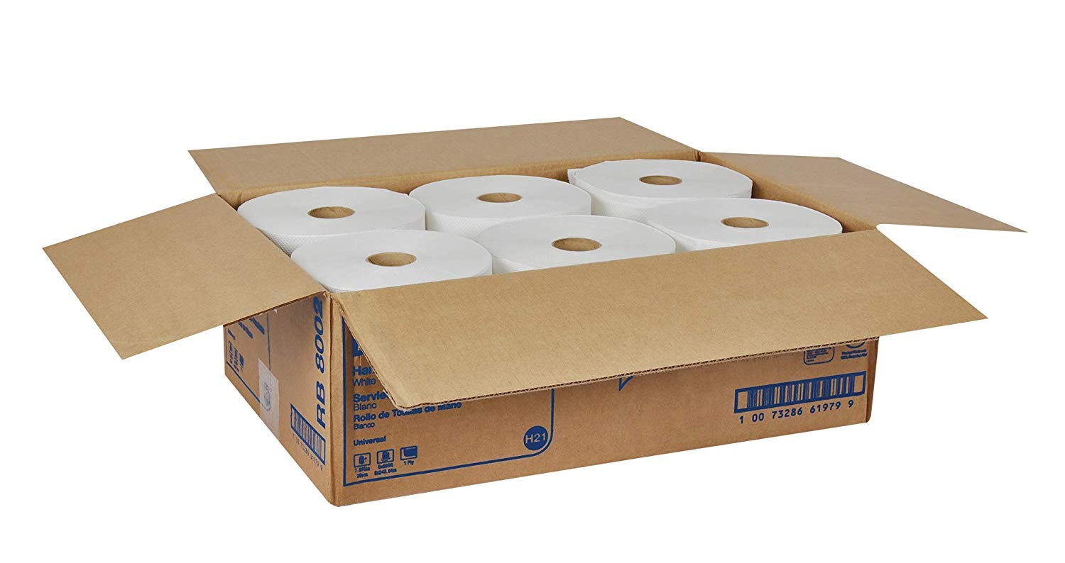 Tork Universal RB8002 Hardwound Paper Roll Towel, 1-Ply, 7.87'' Width x 800' Length, White (Case of 6 Rolls, 800 per Roll, 4,800 Feet) (Тwo Рack) by Tork (Image #8)