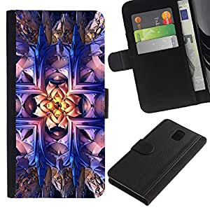 "Samsung Galaxy Note 3 III N9000 N9002 N9005 , la tarjeta de Crédito Slots PU Funda de cuero Monedero caso cubierta de piel ("" Wallpaper Magical Art Bling Drawing Bright"")"