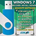 Ezalink USB for Windows 7 SP1 Repair Install Recovery Restore Boot Fix Flash Drive | 32 & 64 Bit Systems, All Editions and Brands w/ AntiVirus and Support