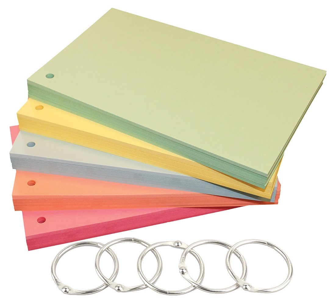 Debra Dale Designs Blank Index Cards - 5'' x 8'' Hole Punched 140# Extra Heavy Index Card Stock - 5 Colors