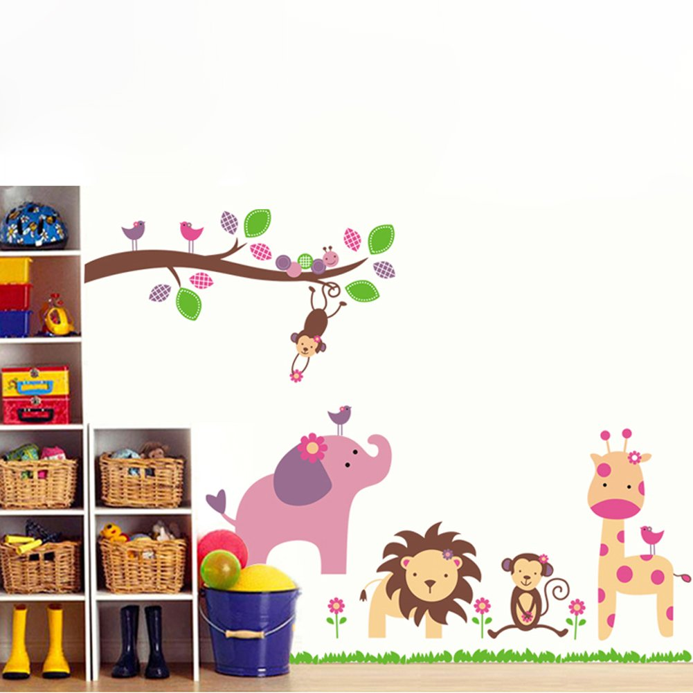 amazon com nursery wall sticker decals for boys and girls amazon com nursery wall sticker decals for boys and girls children s wall d cor art sticker zoo wall decals baby